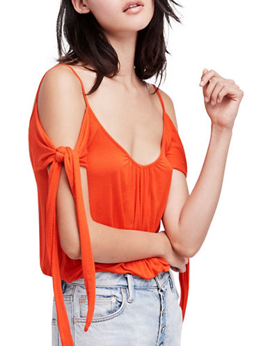 Free People Believe Me Cold Shoulder Tee-RED-X-Small