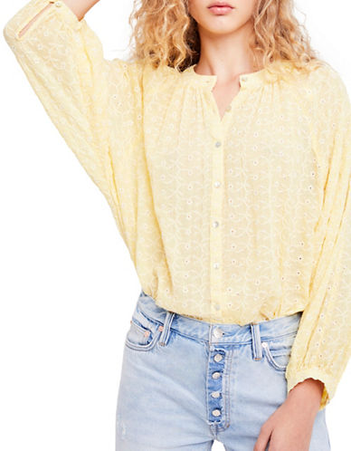 Free People Down From the Clouds Cotton Button-Down Shirt-YELLOW-Large