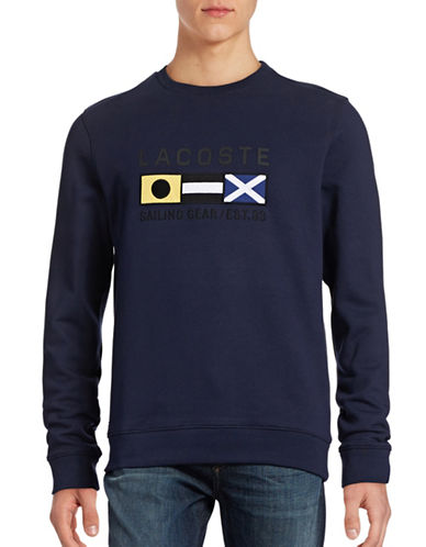 Lacoste Flag Embroidery Sweatshirt-NAVY-X-Large 88565884_NAVY_X-Large