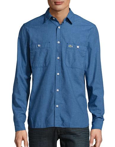 Lacoste Slub Woven Cotton Sport Shirt-DENIM-EU 40/US 15.75