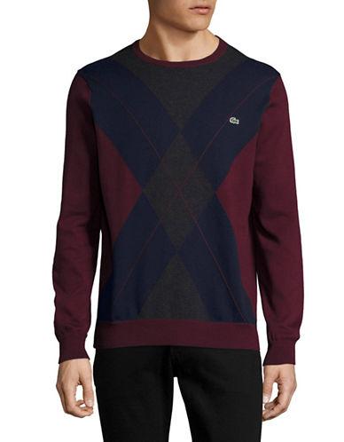 Lacoste Crew Neck Argyle Sweater-BLUE-XX-Large