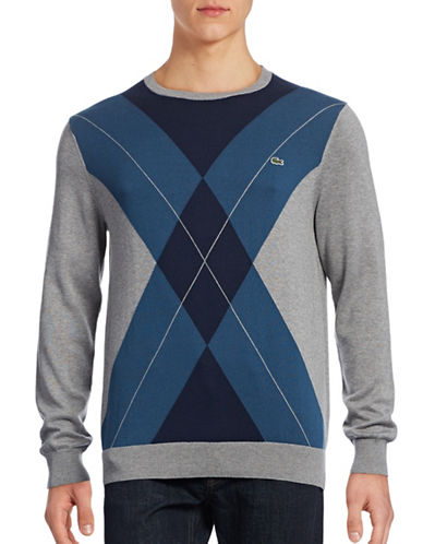 Lacoste Fair Isle Sweater-NAVY BLUE-XX-Large