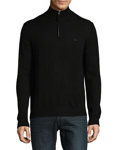 Lacoste Half-Zip Merino Wool Sweater-BLACK-Medium