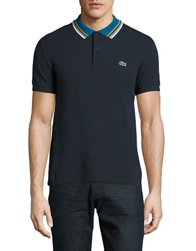 Lacoste Regular-Fit Striped Collar Polo-NAVY BLUE-X-Large