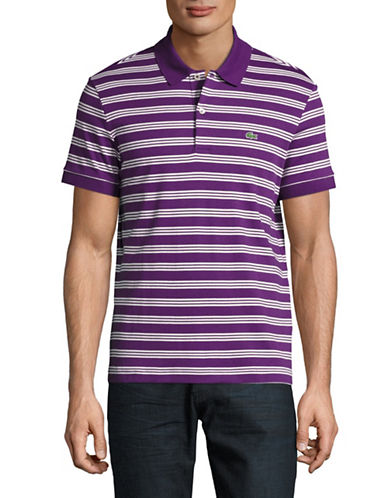 Lacoste Short Sleeve Ribbed Collar Polo Shirt-PURPLE-X-Large