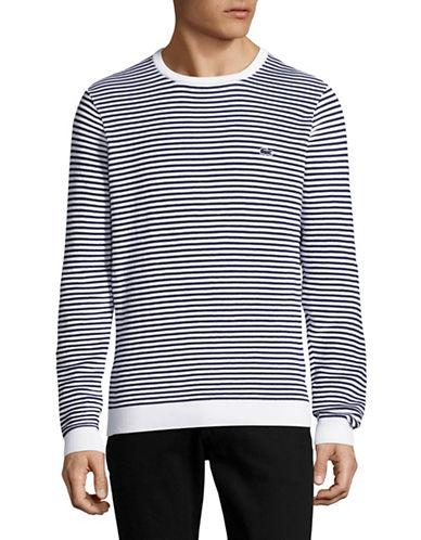 Lacoste Striped Crew Neck Sweater-WHITE-Small 89034609_WHITE_Small