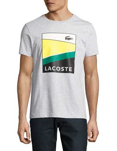 Lacoste Logo Graphic T-Shirt-SILVER-Small