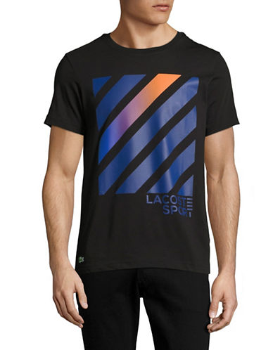 Lacoste Stripe Cotton T-Shirt-BLACK-XX-Large 89034850_BLACK_XX-Large