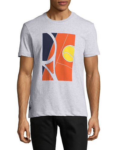 Lacoste Court Graphic T-Shirt-SILVER-Medium