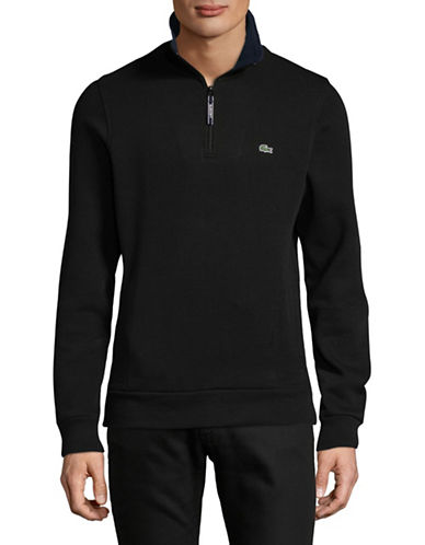 Lacoste Lined Quarter Zip Long Sleeve Pullover-BLACK-X-Large