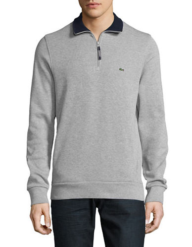 Lacoste Lined Quarter Zip Long Sleeve Pullover-SILVER-Medium