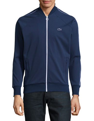 Lacoste Piped Full-Zip Sweater-BLUE-Small