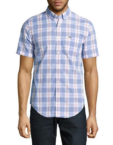 Lacoste Gingham Short-Sleeve Regular Fit Shirt-PURPLE-EU 39/US 15.5