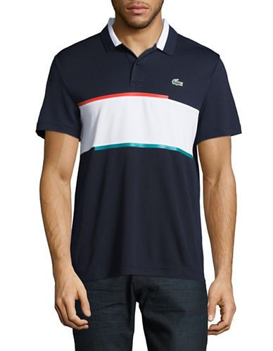 Lacoste Rugby Stripe Polo-NAVY BLUE-Large