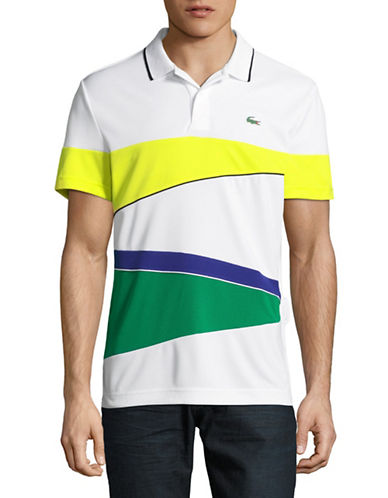 Lacoste Rugby Stripe Polo-WHITE/YELLOW-X-Large