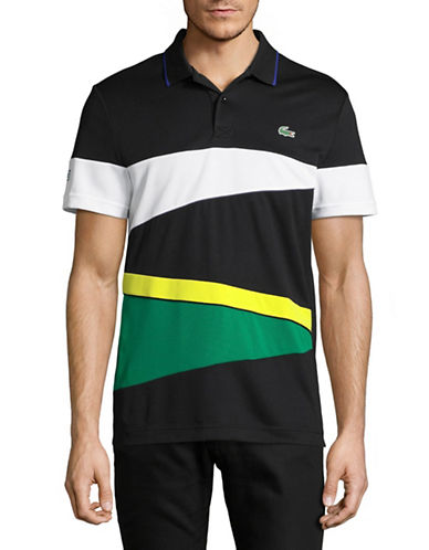 Lacoste Rugby Stripe Polo-BLACK/WHITE-Large