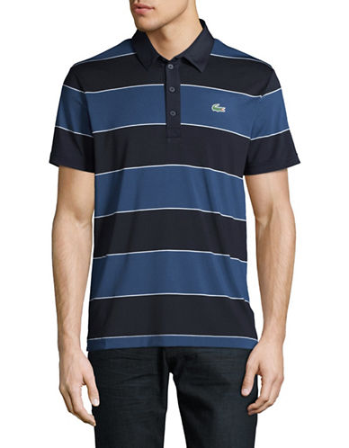 Lacoste Rugby Stripe Polo-NAVY BLUE-Medium