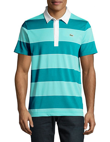 Lacoste Rugby Stripe Polo-LIGHT BLUE-X-Large