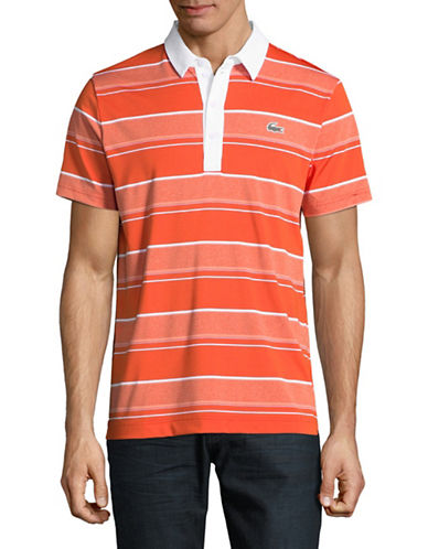 Lacoste Ultra Dry Rugby Stripe Polo-RED-X-Large