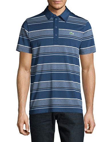Lacoste Ultra Dry Rugby Stripe Polo-COBALT/WHITE-X-Large