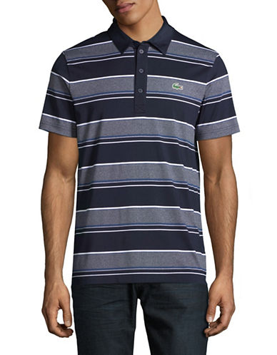 Lacoste Ultra Dry Rugby Stripe Polo-NAVY BLUE-Large
