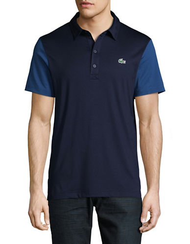 Lacoste Ultra Dry Colourblock Sleeve Polo-BLUE-Large