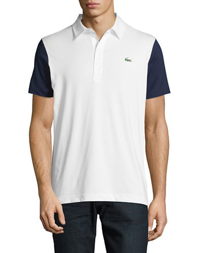 Lacoste Ultra Dry Colourblock Sleeve Polo-WHITE/NAVY-X-Large