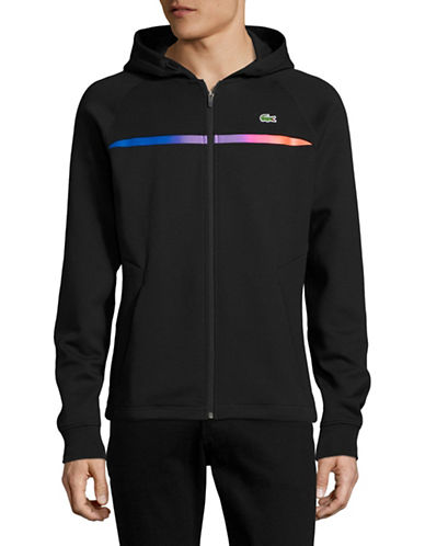 Lacoste Chest Stripe Hoodie-BLACK-Small 89034798_BLACK_Small