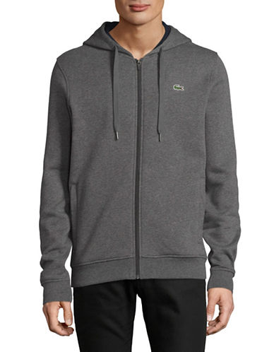 Lacoste Cashmere Zip-Up Hoodie-GREY-Medium