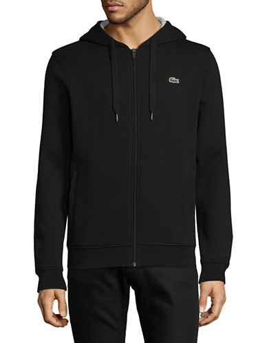 Lacoste Cashmere Zip-Up Hoodie-BLACK-Medium