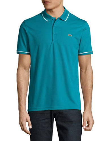 Lacoste Ultra Dry Stripe-Tip Polo-BLUE-Small