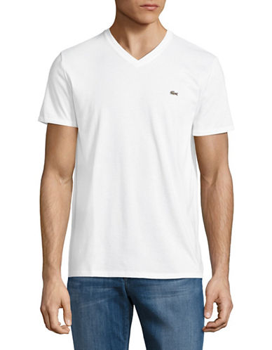 Lacoste Regular-Fit V-Neck T-Shirt-WHITE-Large
