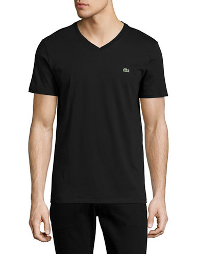 Lacoste Regular-Fit V-Neck T-Shirt-BLACK-Small 89043380_BLACK_Small