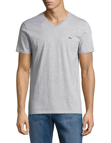 Lacoste Regular-Fit V-Neck T-Shirt-SILVER-Large