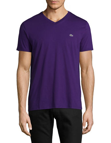Lacoste V Neck T Shirt-PURPLE-Medium