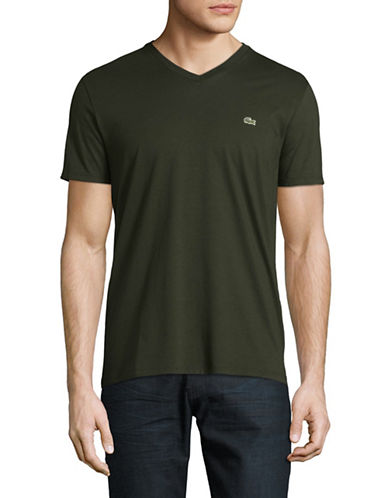 Lacoste V Neck T Shirt-DARK GREEN-Large