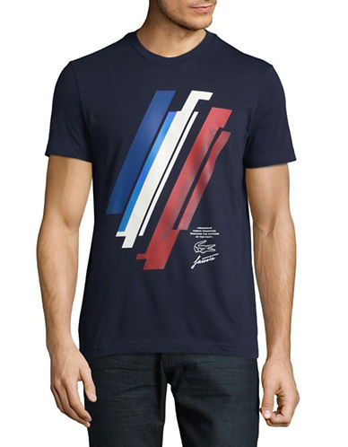 Lacoste Graphic Round Neck Tee-NAVY BLUE-Large