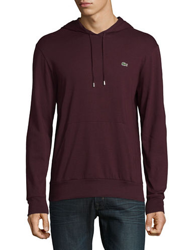 Lacoste Lightweight Hooded Long-Sleeve Tee-BROWN-Small