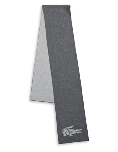 Lacoste Colourblock Wool Scarf-GREY-One Size