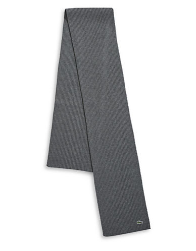 Lacoste Ribbed Virgin Wool Scarf-GREY-One Size