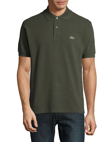 Lacoste Short Sleeve Ribbed Collar Polo Shirt-GREY-Small