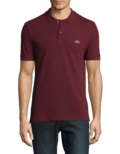 Lacoste Short Sleeve Ribbed Collar Polo Shirt-RED-Large