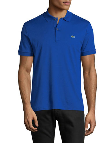 Lacoste Short Sleeve Cotton Polo-BLUE-Small