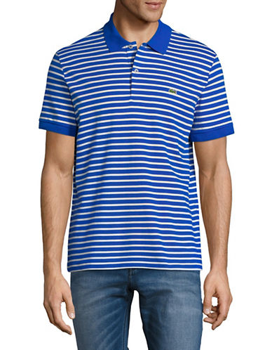 Lacoste Short Sleeve Stripe Cotton Polo-BLUE-Large