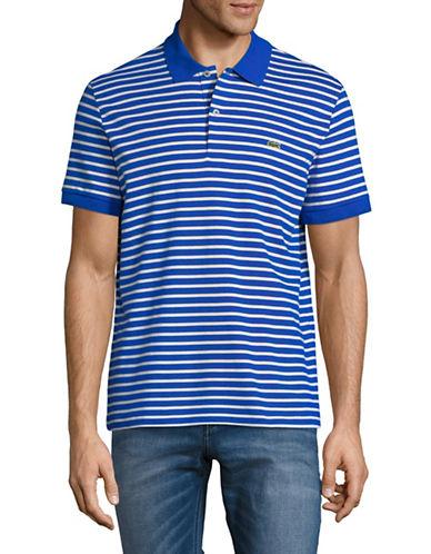 Lacoste Short Sleeve Stripe Cotton Polo-BLUE-X-Large