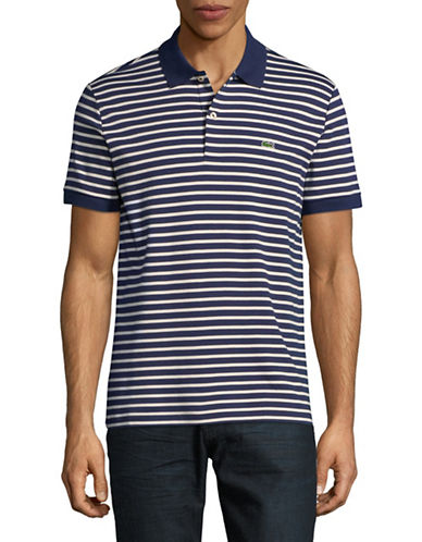 Lacoste Short Sleeve Stripe Cotton Polo-DARK BLUE-Large
