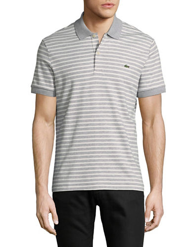Lacoste Short Sleeve Stripe Cotton Polo-GREY-Medium