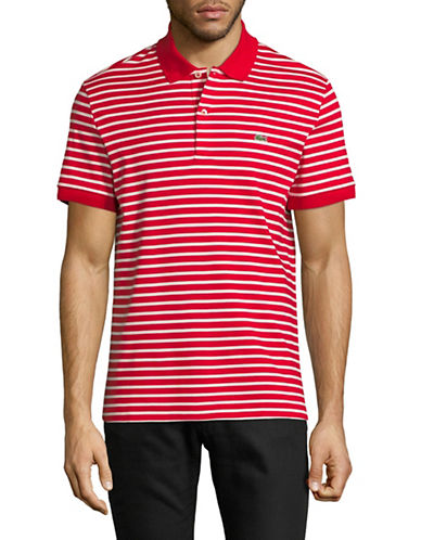 Lacoste Short Sleeve Stripe Cotton Polo-RED-X-Large
