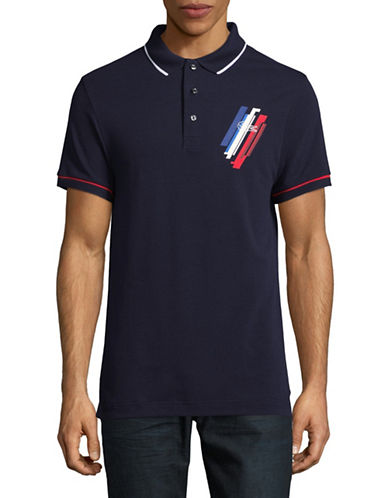 Lacoste Olympic Logo Print Cotton Polo-NAVY BLUE-Small