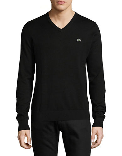 Lacoste Cotton V-Neck Sweater-BLACK-Large